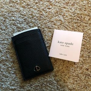 Kate spade Polly card case - black pebbled leather